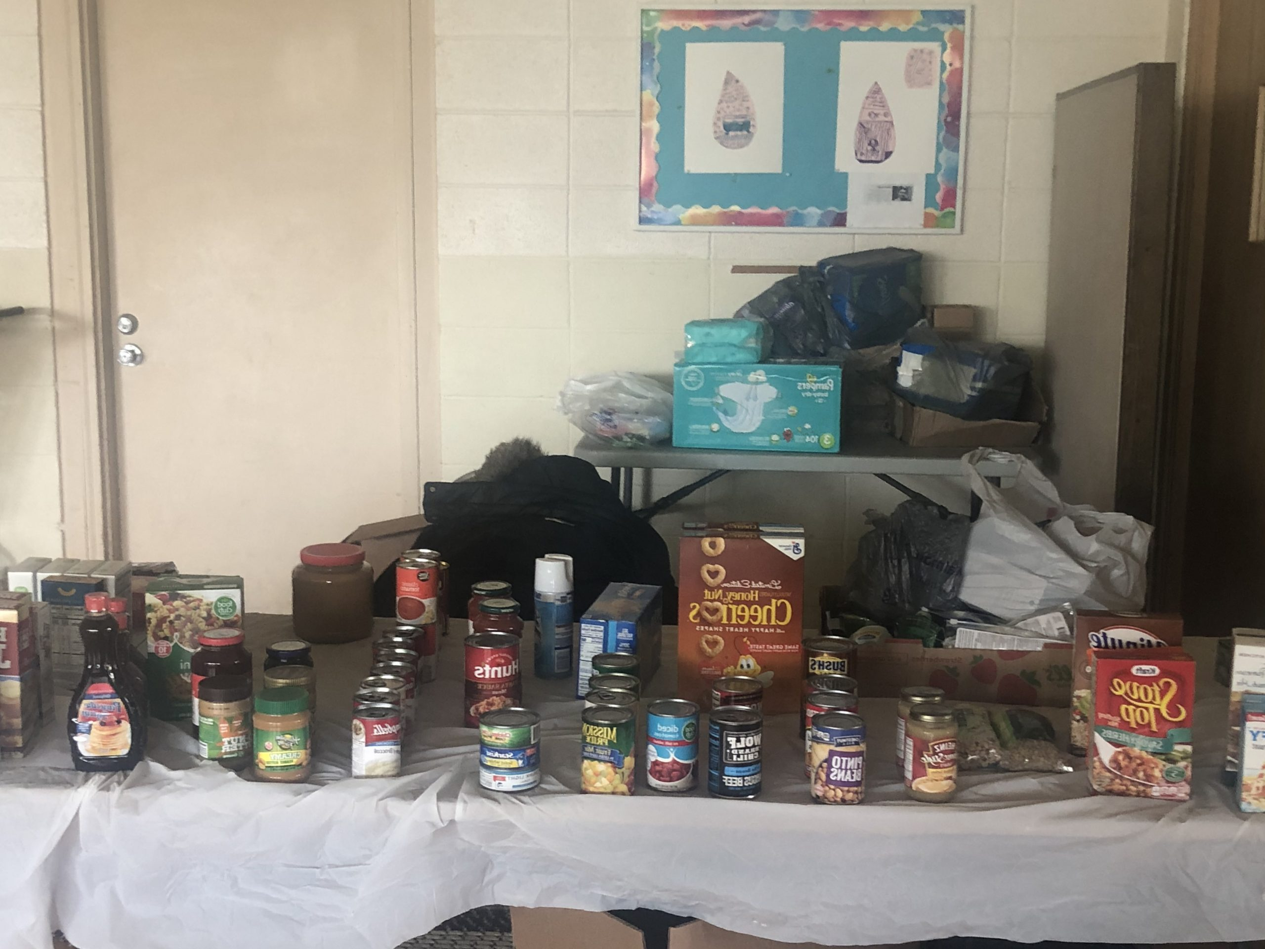 Fellowship hall table with nonperishable food